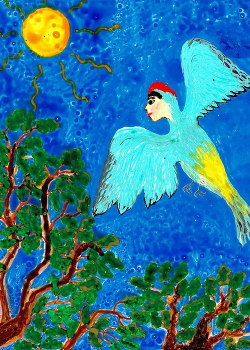 Sue Burgess Greeting Card featuring the painting Bird People Green Woodpecker by Sushila Burgess