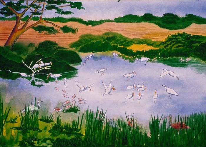 Landscape Greeting Card featuring the painting Bird Pond by Buster Dight