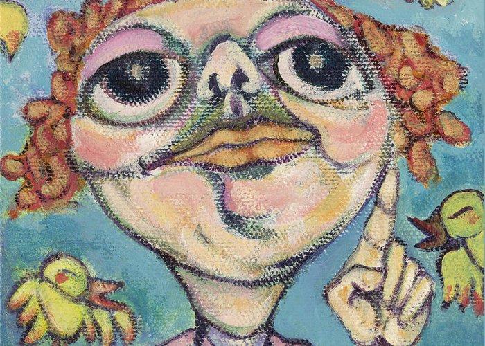 Bird Watcher Greeting Card featuring the painting Bird Watcher by Michelle Spiziri