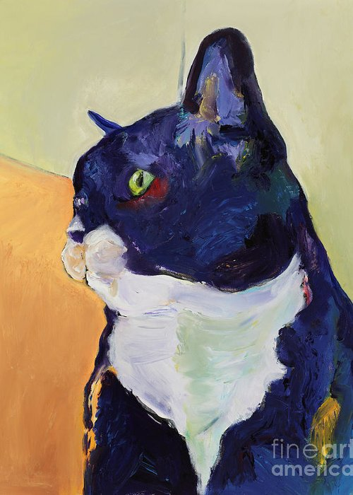 Cat Portrait Greeting Card featuring the painting Bird Watcher by Pat Saunders-White