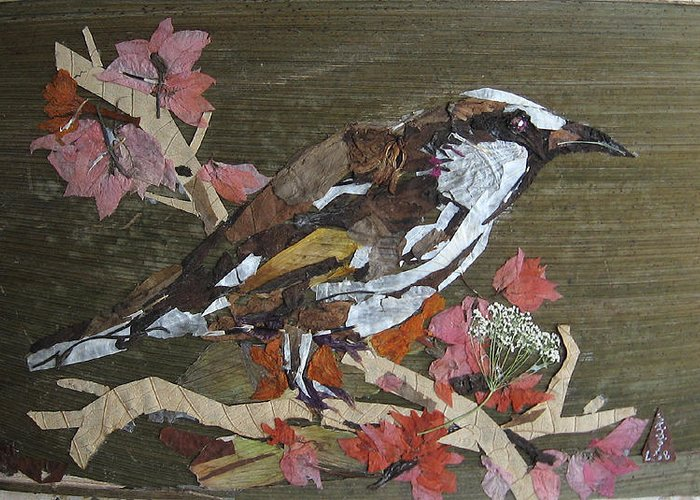 Bird Greeting Card featuring the mixed media Bird White Eye by Basant Soni