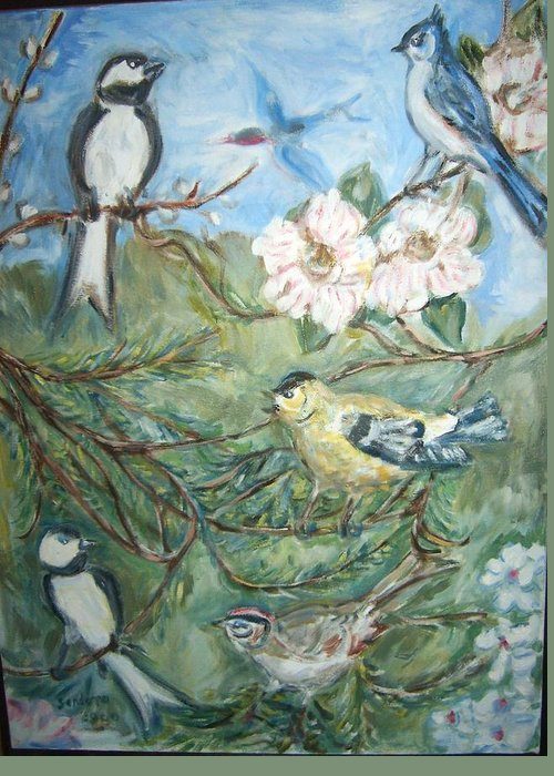 Landscape Birds Wildlife Flowers Greeting Card featuring the painting Birds 1 by Joseph Sandora Jr