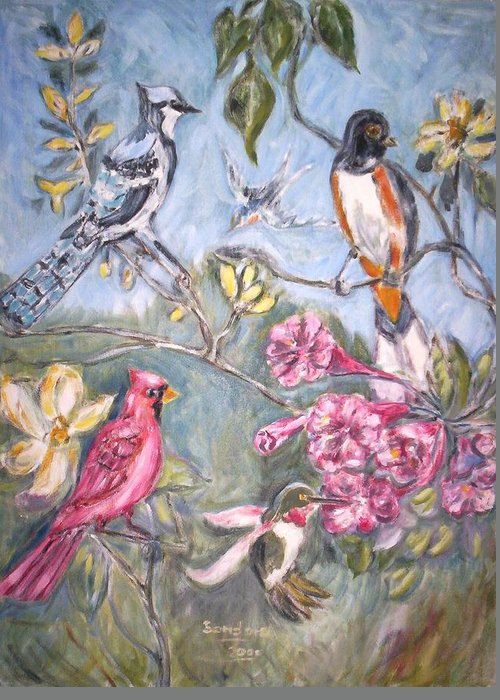 Wild Life Birds Flowers Landscape Greeting Card featuring the painting Birds 2 by Joseph Sandora Jr