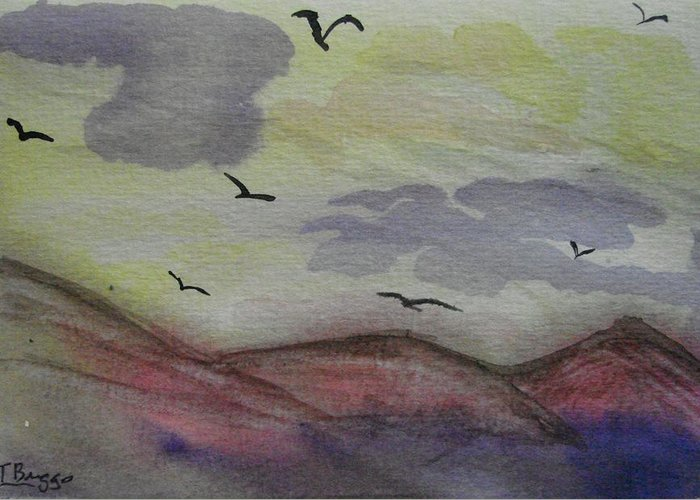 Mountains Greeting Card featuring the painting Birds In Flight by Dottie Briggs