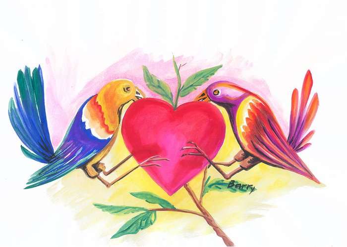 Love Greeting Card featuring the painting Birds In Love 01 by Emmanuel Baliyanga