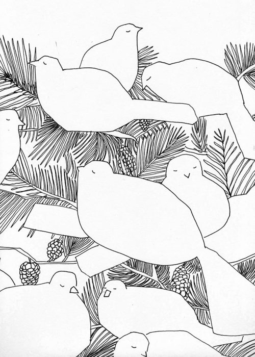 Birds Greeting Card featuring the drawing Birds In Pine by Jean Stark