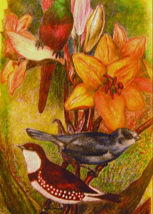Birds Greeting Card featuring the painting Birds by John Vandebrooke