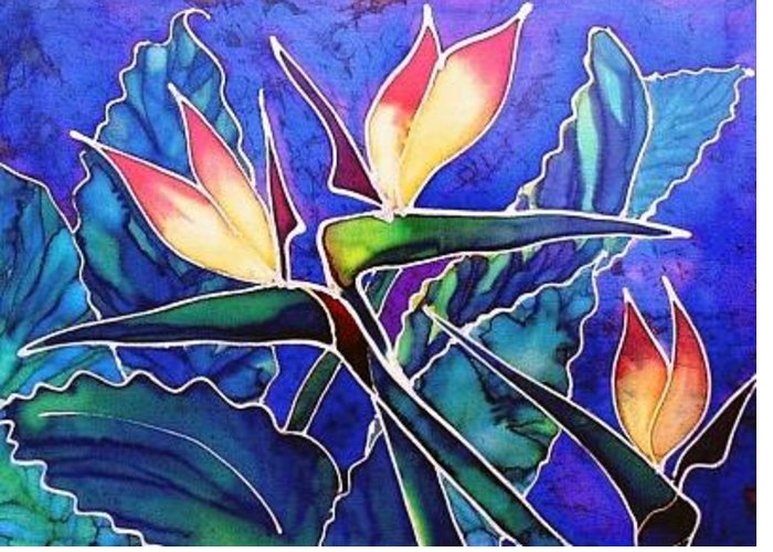Silk Painting Greeting Card featuring the painting Birds Of Paradise II by Francine Dufour Jones