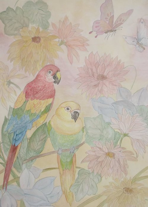 Parrots Greeting Card featuring the painting Birds Of Paradise by Patti Lennox