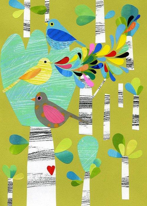 Birch Tree Mixed Media Greeting Cards