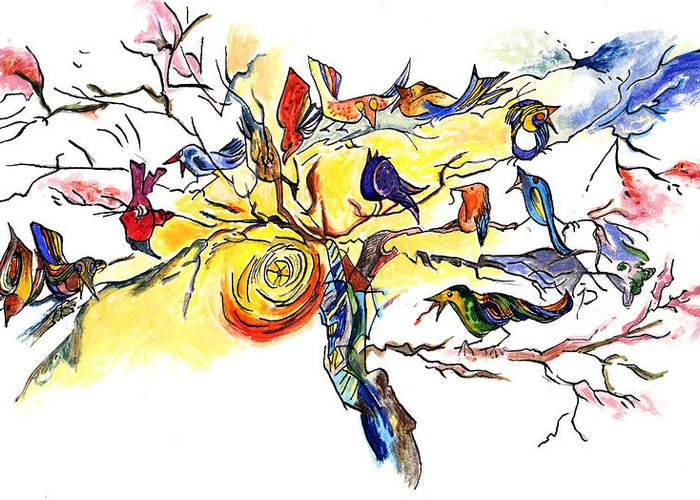 Birds Greeting Card featuring the painting Birds On A Branch by Lily Hymen