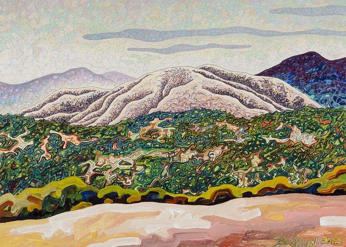 Birdseye Landscape #4 Greeting Card featuring the mixed media Birdseye Landscape #4 by Dale Beckman