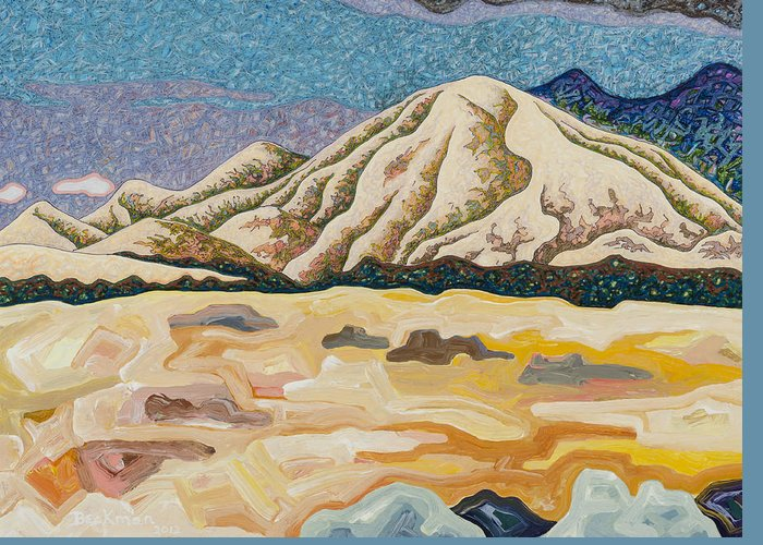 Birdseye Landscape #5 Greeting Card featuring the mixed media Birdseye Landscape #5 by Dale Beckman