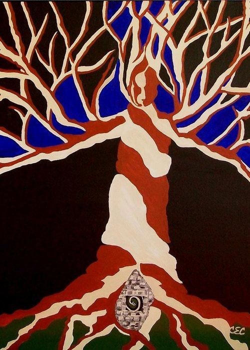 Abstract Tree Greeting Card featuring the painting Birth by Carolyn Cable