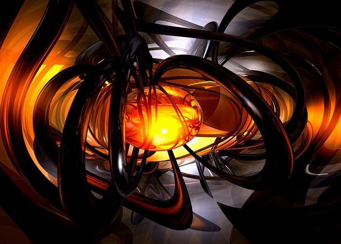 3d Greeting Card featuring the digital art Birth Of A Sun Abstract by Alexander Butler