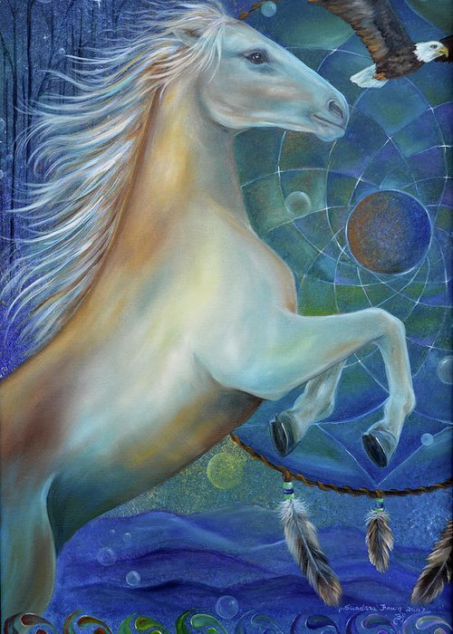 Horse Greeting Card featuring the painting Birth Of Freedom by Sundara Fawn