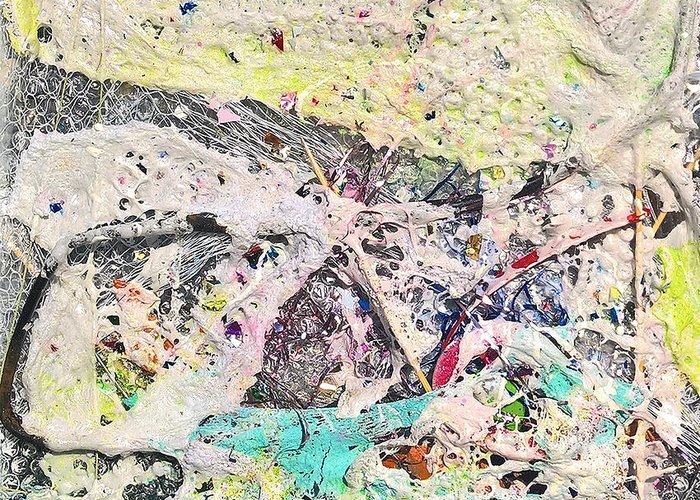Foam Upcycled Beach Debris Abstract Expressionism Robert Anderson Backlight Greeting Card featuring the painting Birthday Cake by Robert Anderson