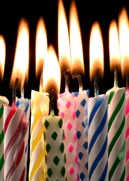 Flame Greeting Card Featuring The Photograph Birthday Candles By Garry Gay