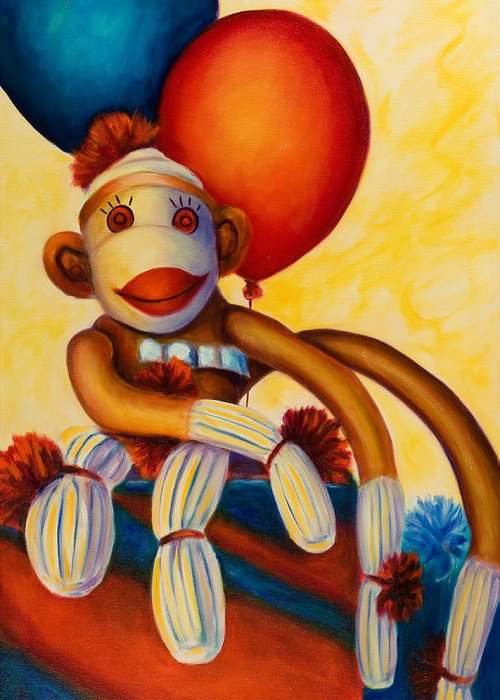 Sock Monkey Brown Greeting Card featuring the painting Birthday Made Of Sockies by Shannon Grissom
