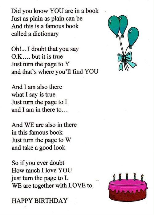 birthday poem greeting card for salethomas j norbeck