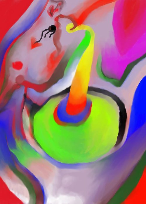Colorful Greeting Card featuring the digital art Birthday Surprise by Peter Shor
