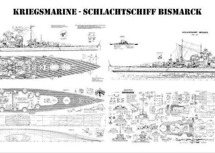 Bismarck ship plans of the iconic world war ii battleship of the bismarck greeting card featuring the digital art bismarck ship plans of the iconic world war malvernweather Images