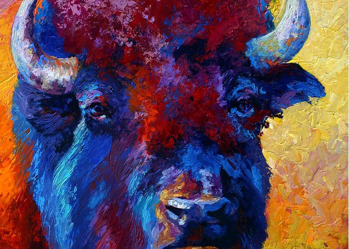 Wildlife Greeting Card featuring the painting Bison Boss by Marion Rose