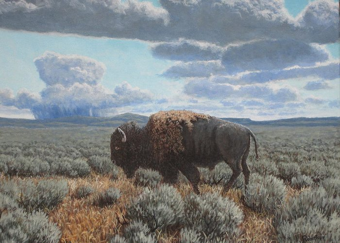 Landscape Greeting Card featuring the painting Bison Bull on the prairie by Scott Robertson
