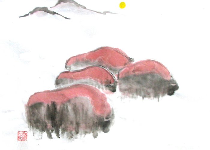 A Herd Of Bison .  Greeting Card featuring the painting Bisons In Snow I by Mui-Joo Wee