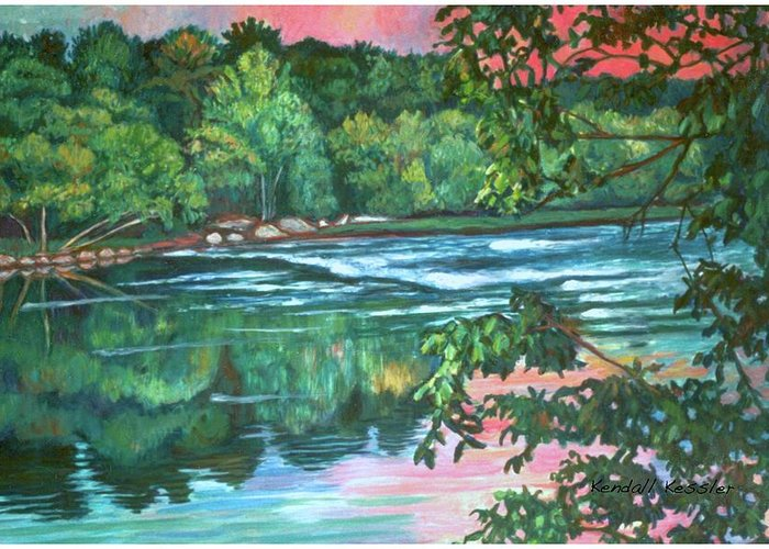 River Greeting Card featuring the painting Bisset Park Rapids by Kendall Kessler