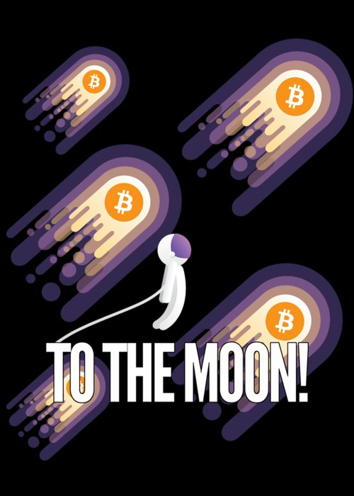 Bitcoin Greeting Card featuring the drawing Bitcoin To The Moon Astronaut Cryptocurrency Humor Funny Space Crypto by Cameron Fulton