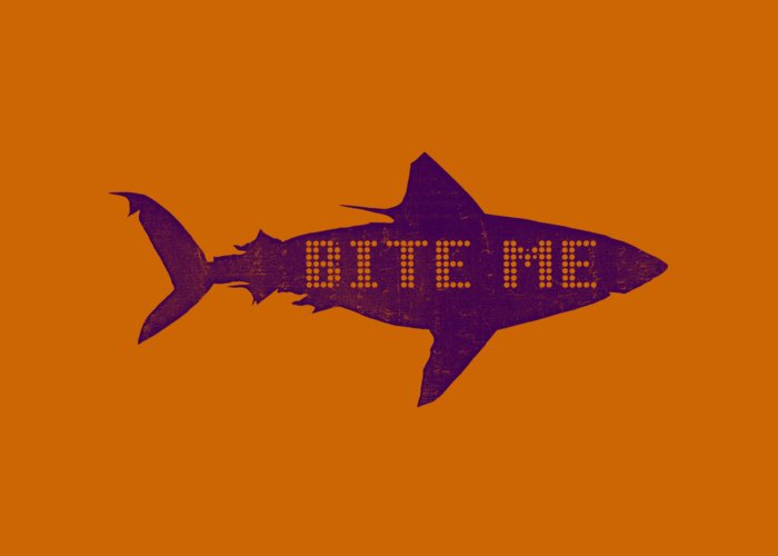 Jawsome Greeting Card featuring the digital art Bite Me by Michelle Calkins