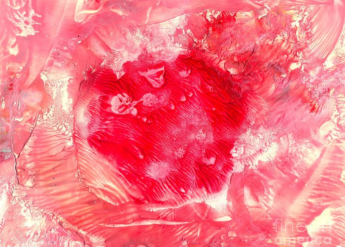 Red Greeting Card featuring the painting Bk Healing by Heather Hennick