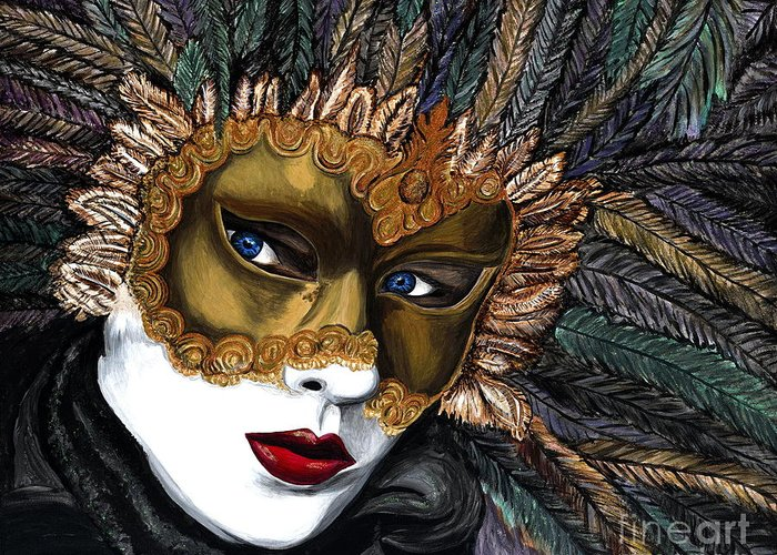 Carnival Greeting Card featuring the painting Black And Gold Carnival Mask by Patty Vicknair