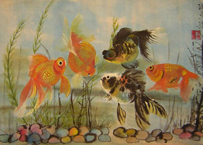 Fish Greeting Card featuring the painting Black And Golden Friendship by Lian Zhen