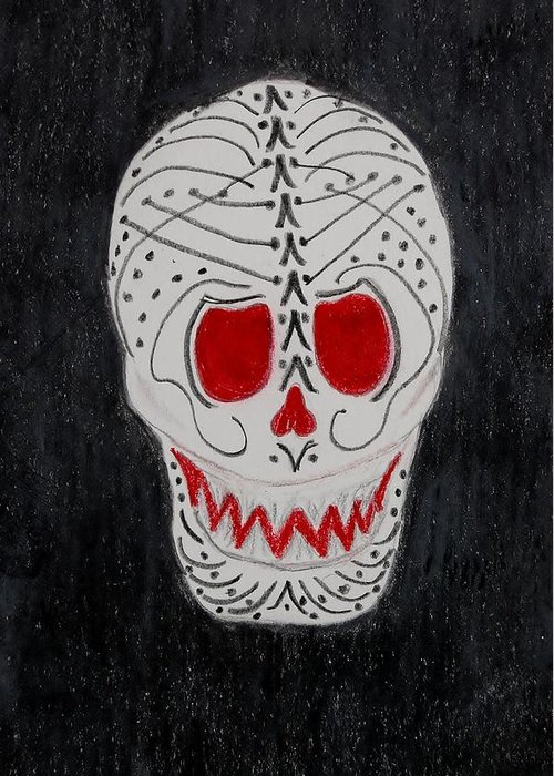 Skull Greeting Card featuring the mixed media Black And Red by Charla Van Vlack
