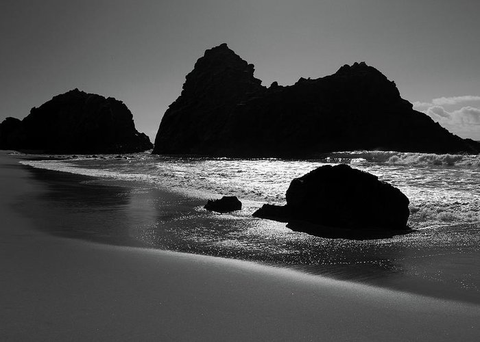 Big Sur Greeting Card featuring the photograph Black And White Big Sur Landscape by Pierre Leclerc Photography