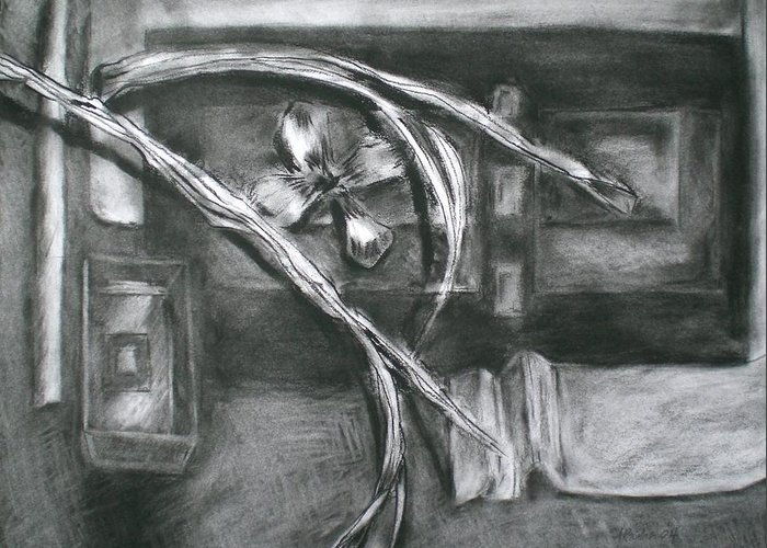 Still Life Greeting Card featuring the drawing Black And White Composition II by Aleksandra Buha