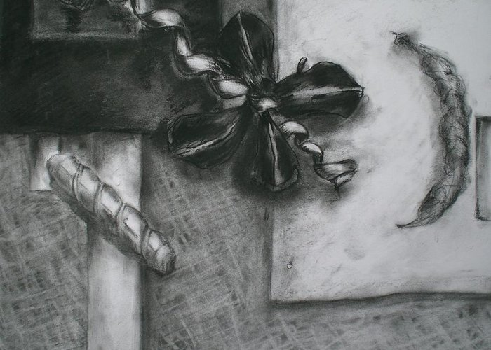 Still Life Greeting Card featuring the drawing Black And White Composition IIi by Aleksandra Buha