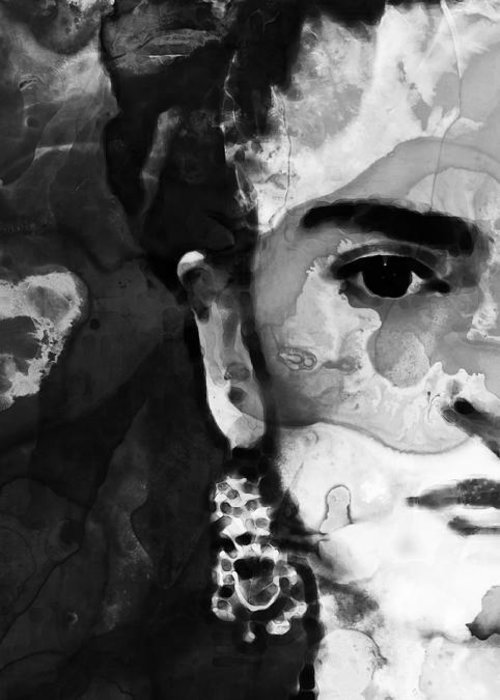 Frida Kahlo Greeting Card featuring the painting Black And White Frida Kahlo By Sharon Cummings by Sharon Cummings