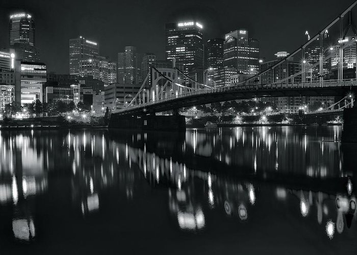 Pittsburgh Greeting Card featuring the photograph Black And White Lights by Frozen in Time Fine Art Photography