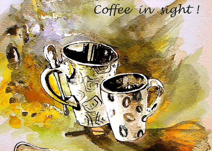 Cafe Crem Greeting Card featuring the painting Black And White by Miki De Goodaboom