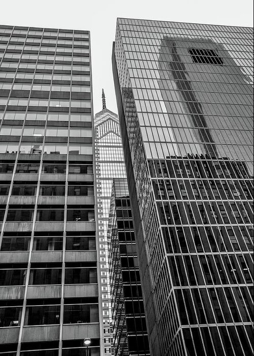 Black And White Greeting Card featuring the photograph Black And White Philadelphia - Skyscraper Reflections by Bill Cannon
