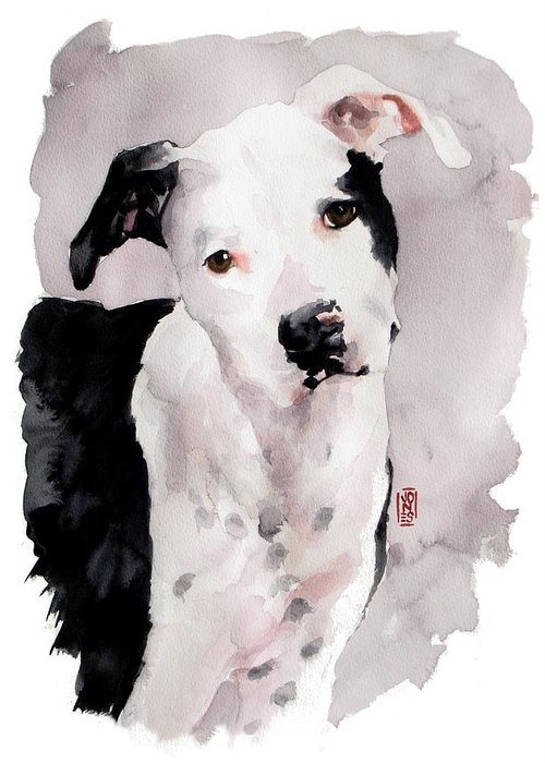 Pit Bull Dog Greeting Card featuring the painting Black And White Pit by Debra Jones