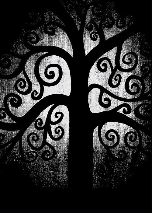 Black And White Greeting Card featuring the painting Black And White Tree by Angelina Vick