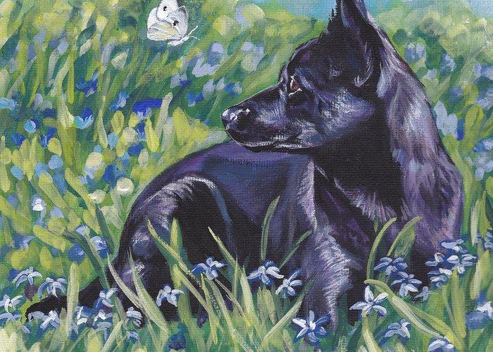 Black Greeting Card featuring the painting Black Australian Kelpie by Lee Ann Shepard