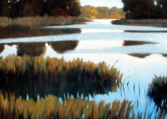 Water Greeting Card featuring the painting Black Bayou by Kevin Lawrence Leveque