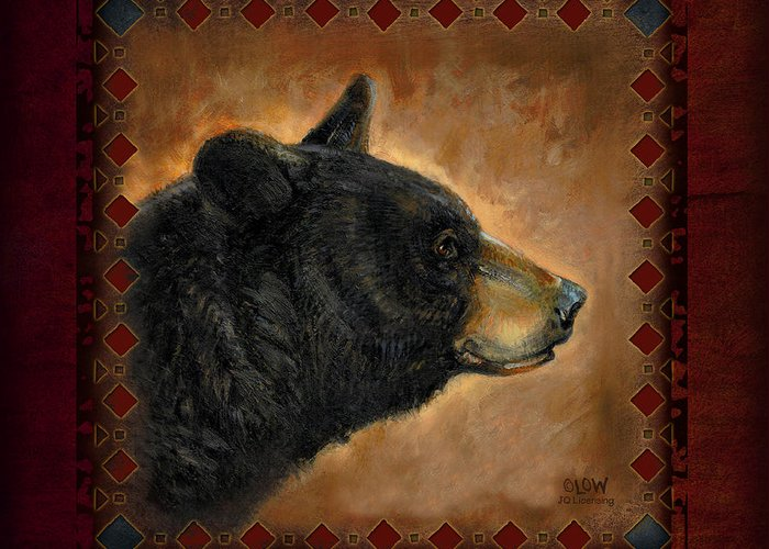 Wildlife Greeting Card featuring the painting Black Bear Lodge by JQ Licensing