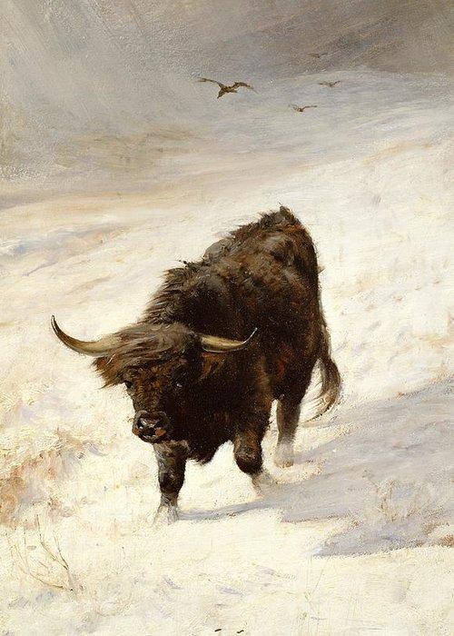 Highland Greeting Card featuring the painting Black Beast Wanderer by Joseph Denovan Adam