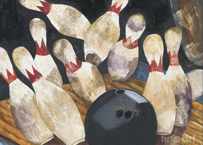 Bowling Greeting Card featuring the painting Black Beauty by Barb Pearson